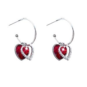 Silver Hoops w/Crystal Pave/Red Crystal Hearts